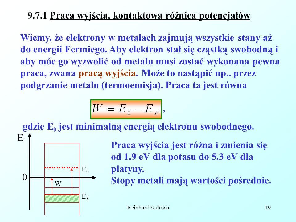 Reinhard Kulessa19 9.7.1 Praca wyjścia, kontaktowa różnica potencjałów Wiemy, że elektrony w metalach zajmują wszystkie stany aż do energii Fermiego.