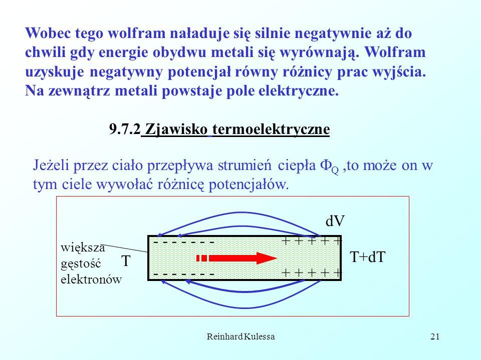 Reinhard Kulessa21 Wobec tego wolfram naładuje się silnie negatywnie aż do chwili gdy energie obydwu metali się wyrównają. Wolfram uzyskuje negatywny