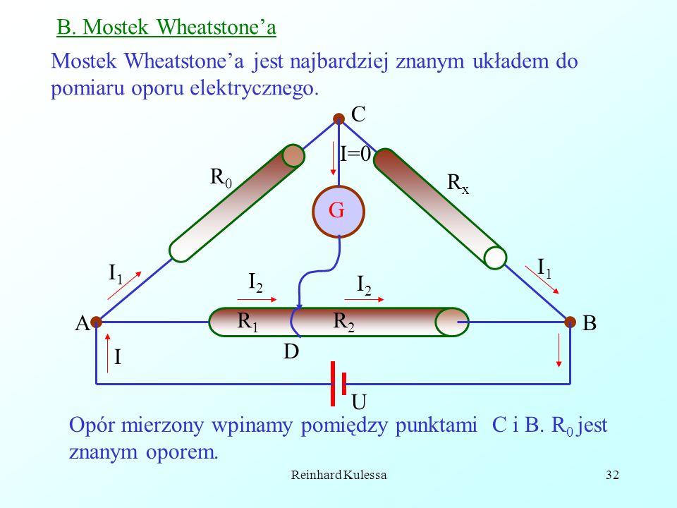 Reinhard Kulessa32 B. Mostek Wheatstonea Mostek Wheatstonea jest najbardziej znanym układem do pomiaru oporu elektrycznego. G AB R0R0 RxRx C U I1I1 I