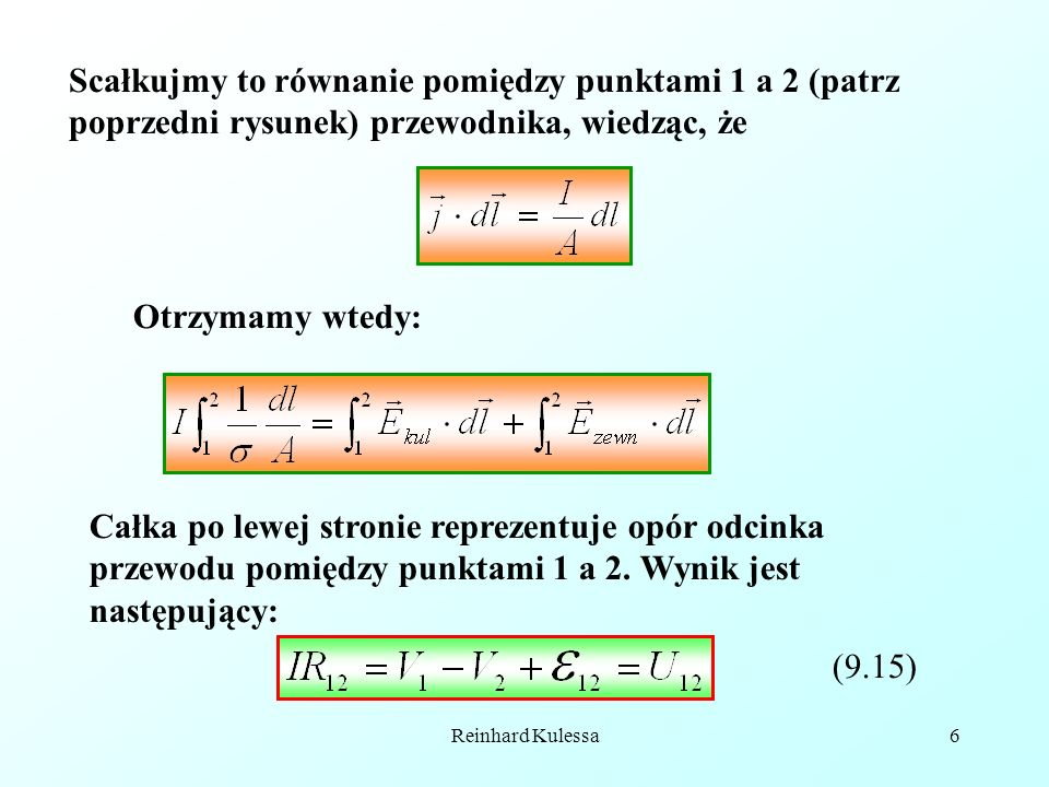 Reinhard Kulessa6 Scałkujmy to równanie pomiędzy punktami 1 a 2 (patrz poprzedni rysunek) przewodnika, wiedząc, że Otrzymamy wtedy: Całka po lewej str