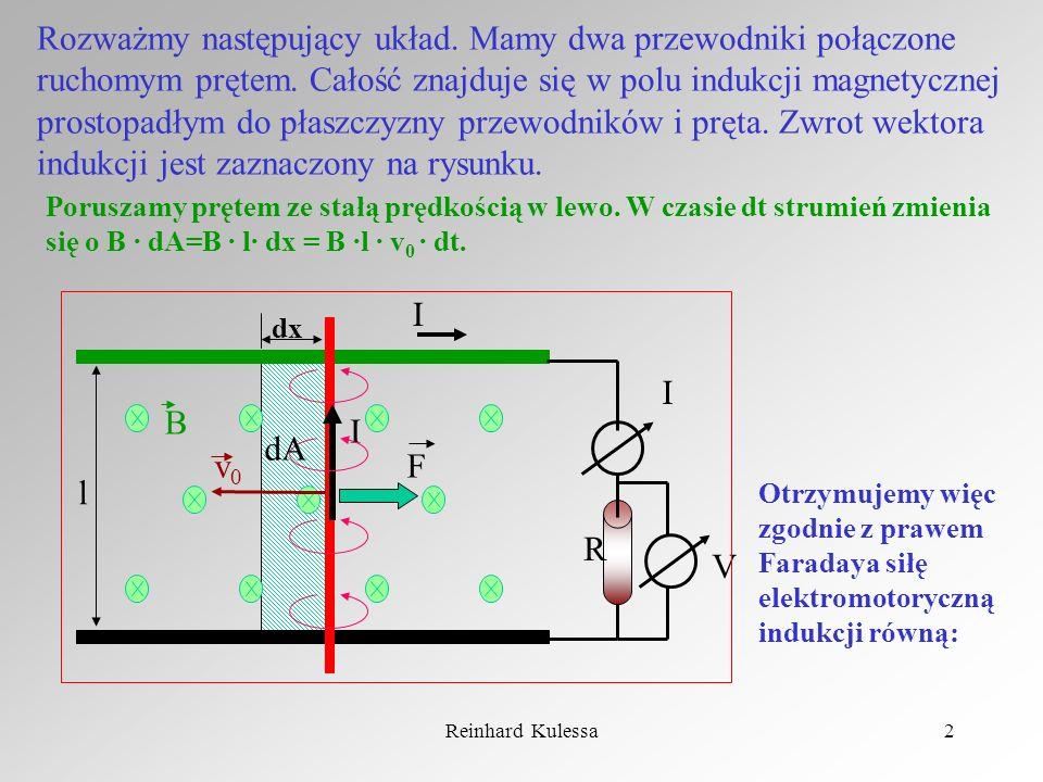 Reinhard Kulessa2 Rozważmy następujący układ. Mamy dwa przewodniki połączone ruchomym prętem. Całość znajduje się w polu indukcji magnetycznej prostop
