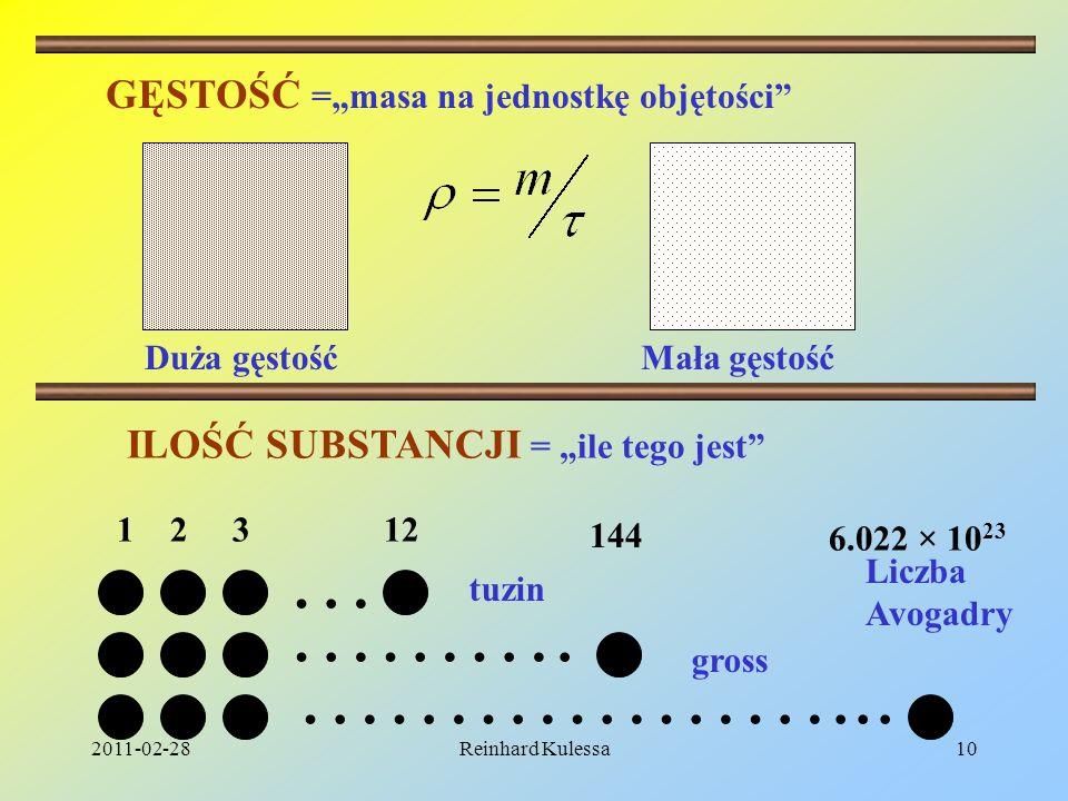 2011-02-28Reinhard Kulessa10 GĘSTOŚĆ =masa na jednostkę objętości Duża gęstośćMała gęstość … ………. ………………... 1 2 3 12 144 6.022 × 10 23 tuzin gross ILO