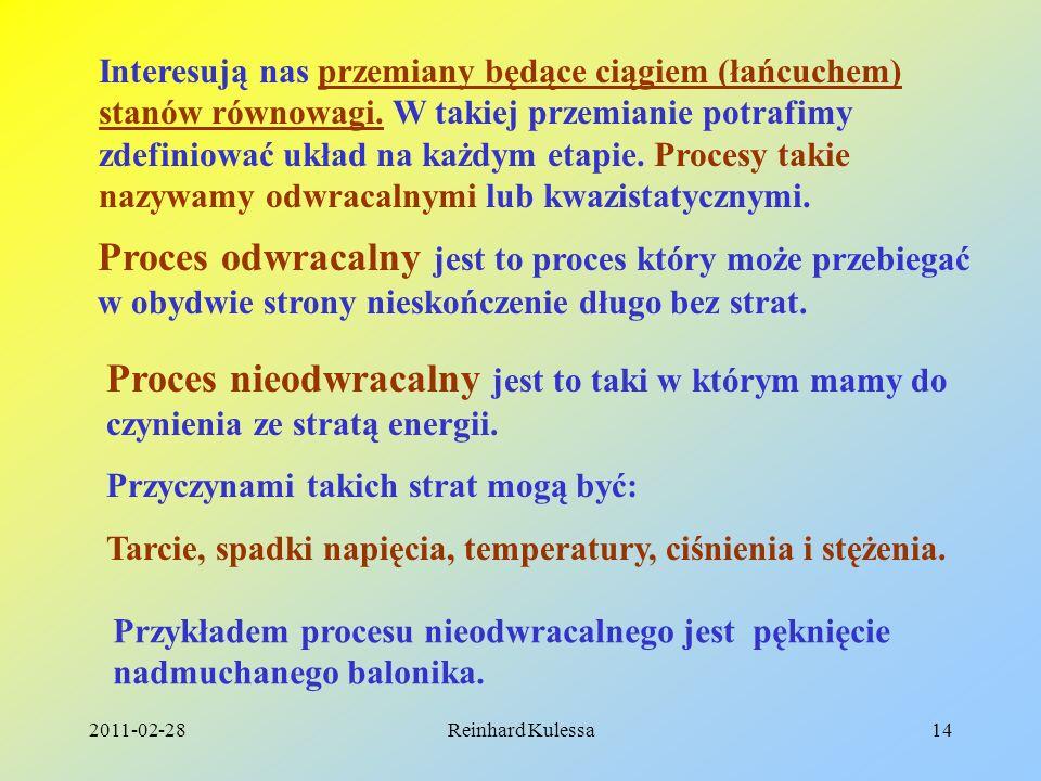 2011-02-28Reinhard Kulessa14 Interesują nas przemiany będące ciągiem (łańcuchem) stanów równowagi. W takiej przemianie potrafimy zdefiniować układ na