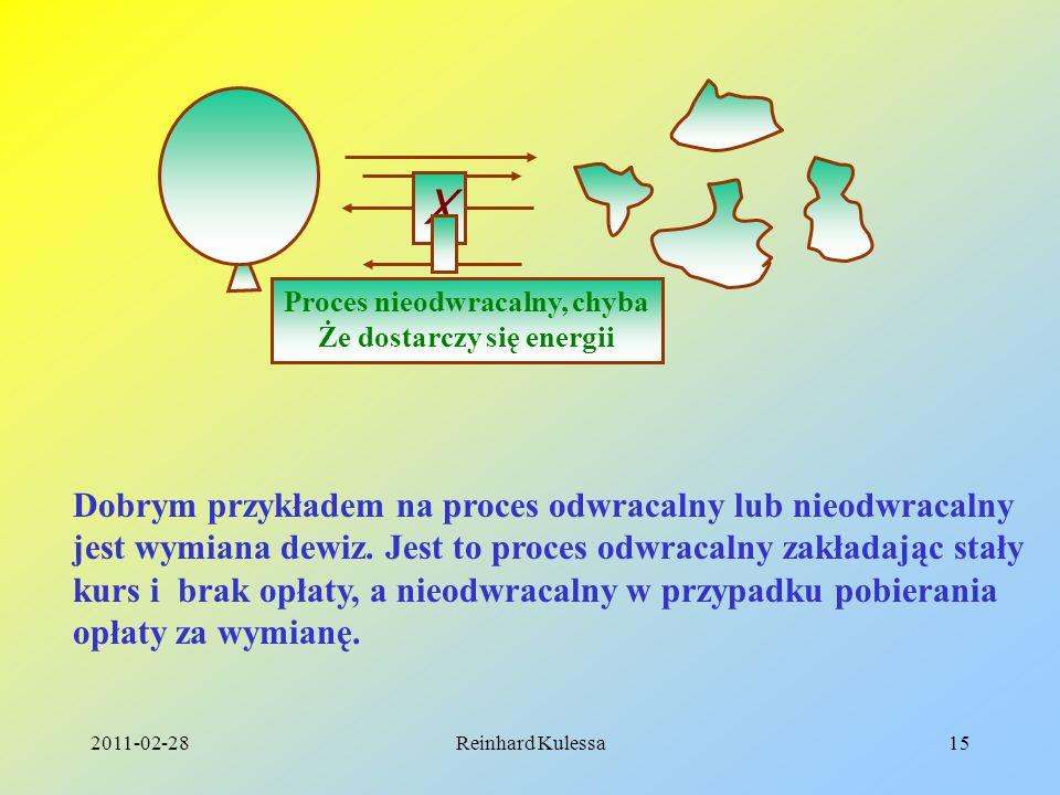 2011-02-28Reinhard Kulessa15 Proces nieodwracalny, chyba Że dostarczy się energii X Dobrym przykładem na proces odwracalny lub nieodwracalny jest wymi