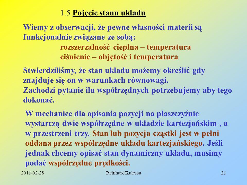 2011-02-28Reinhard Kulessa21 1.5 Pojęcie stanu układu Wiemy z obserwacji, że pewne własności materii są funkcjonalnie związane ze sobą: rozszerzalność