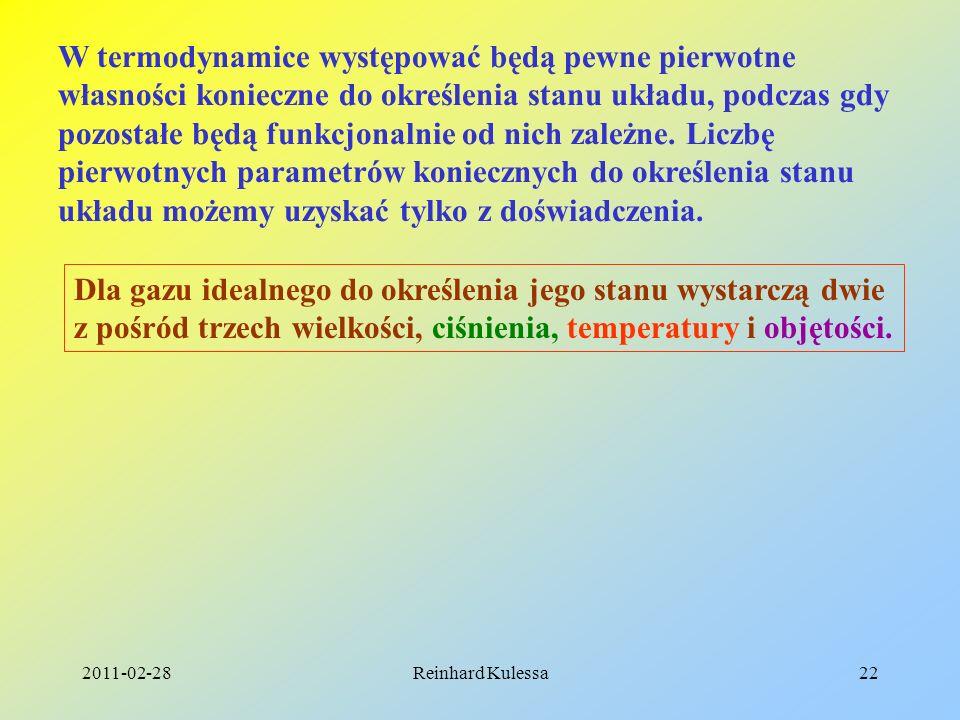 2011-02-28Reinhard Kulessa22 W termodynamice występować będą pewne pierwotne własności konieczne do określenia stanu układu, podczas gdy pozostałe będ