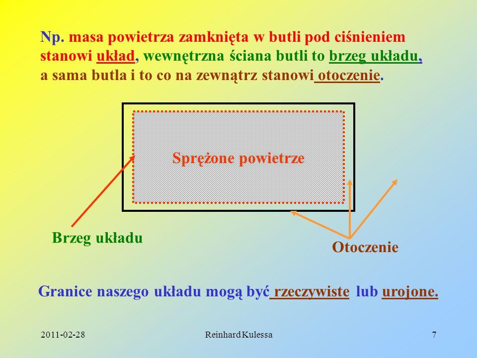 2011-02-28Reinhard Kulessa7 Sprężone powietrze Brzeg układu Np. masa powietrza zamknięta w butli pod ciśnieniem stanowi układ, wewnętrzna ściana butli