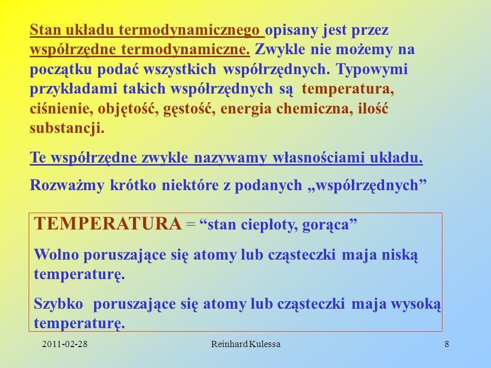 2011-02-28Reinhard Kulessa8 Stan układu termodynamicznego opisany jest przez współrzędne termodynamiczne. Zwykle nie możemy na początku podać wszystki