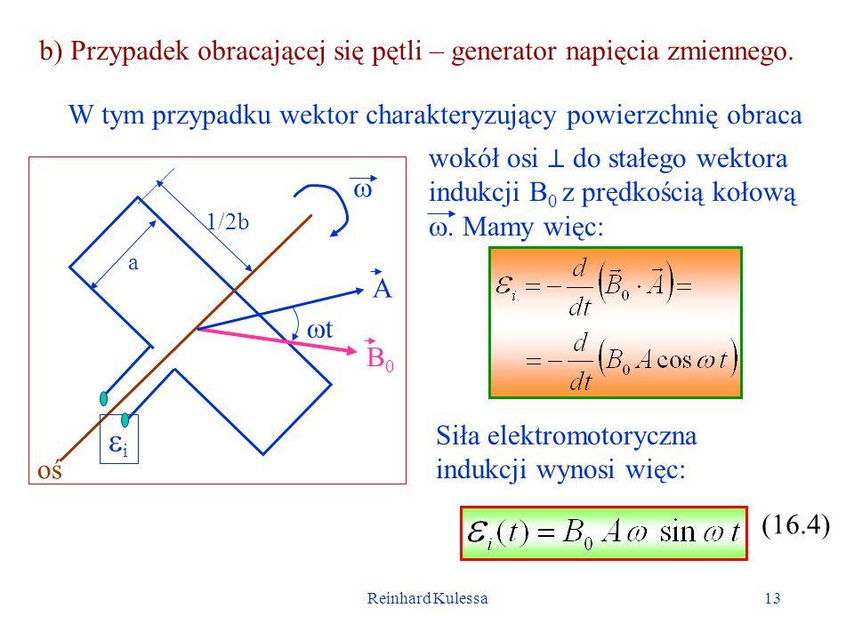 Reinhard Kulessa13 b) Przypadek obracającej się pętli – generator napięcia zmiennego. B0B0 a 1/2b oś A t i W tym przypadku wektor charakteryzujący pow