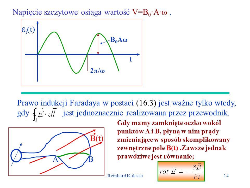 Reinhard Kulessa14 Napięcie szczytowe osiąga wartość V=B 0 ·A·. i (t) t 2 / B 0 A Prawo indukcji Faradaya w postaci (16.3) jest ważne tylko wtedy, gdy