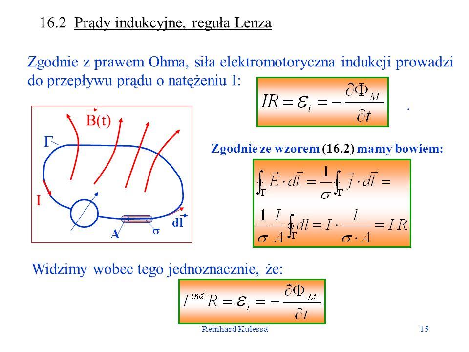 Reinhard Kulessa15 16.2 Prądy indukcyjne, reguła Lenza Zgodnie z prawem Ohma, siła elektromotoryczna indukcji prowadzi do przepływu prądu o natężeniu