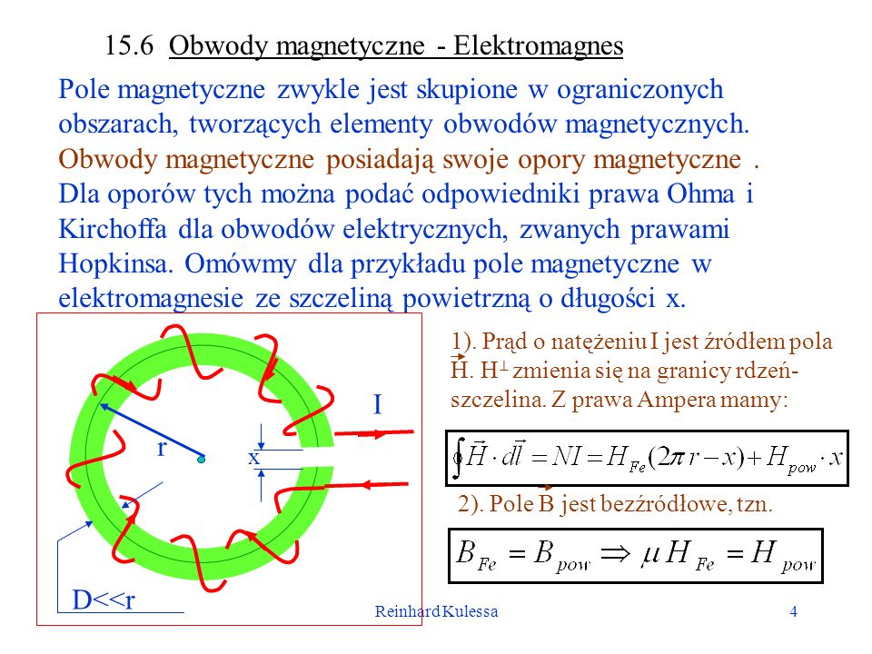 Reinhard Kulessa5 Otrzymujemy więc: Bezźródłowość pola indukcji magnetycznej daje nam: W związku tym: Otrzymujemy więc silne wzmocnienie pola w szczelinie ( >>1).