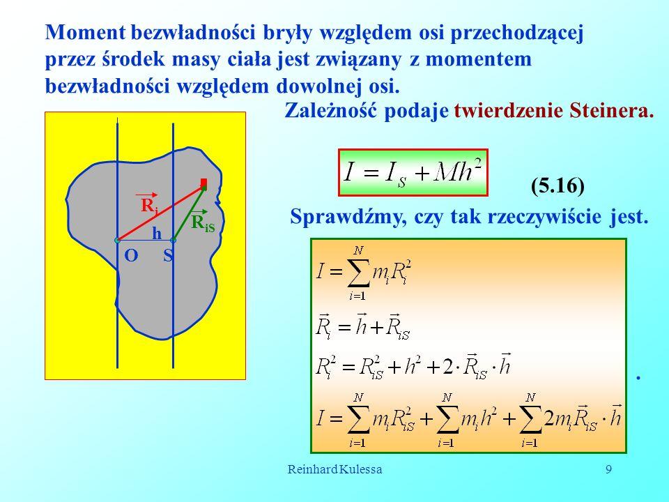 Reinhard Kulessa9 Moment bezwładności bryły względem osi przechodzącej przez środek masy ciała jest związany z momentem bezwładności względem dowolnej