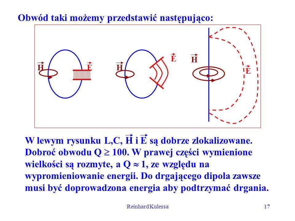 Reinhard Kulessa17 Obwód taki możemy przedstawić następująco: EHH E H E W lewym rysunku L,C, H i E są dobrze zlokalizowane. Dobroć obwodu Q 100. W pra