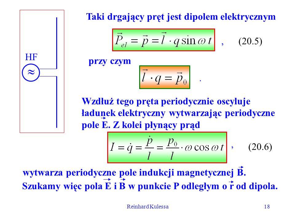 Reinhard Kulessa18 HF Taki drgający pręt jest dipolem elektrycznym (20.5) Wzdłuż tego pręta periodycznie oscyluje ładunek elektryczny wytwarzając peri