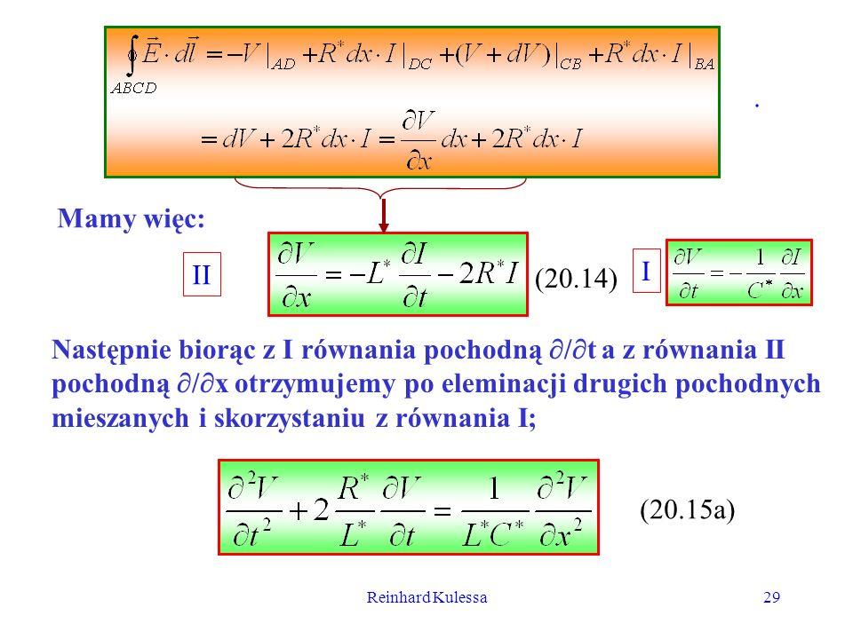Reinhard Kulessa29. Mamy więc: (20.14) II (20.15a) I Następnie biorąc z I równania pochodną / t a z równania II pochodną / x otrzymujemy po eleminacji