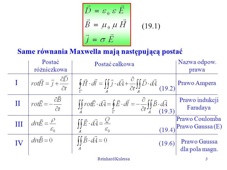Reinhard Kulessa3 (19.1) Same równania Maxwella mają następującą postać Postać różniczkowa Postać całkowa Nazwa odpow. prawa I II III IV Prawo Ampera