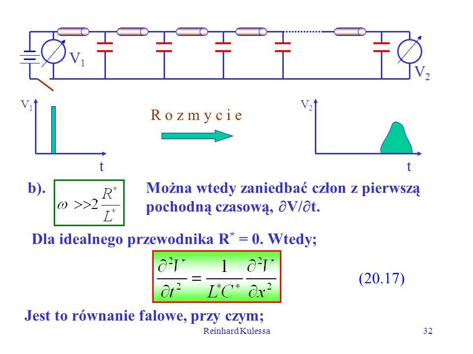 Reinhard Kulessa32 V1V1 V2V2 t V1V1 t V2V2 R o z m y c i e b).Można wtedy zaniedbać człon z pierwszą pochodną czasową, V/ t. Dla idealnego przewodnika