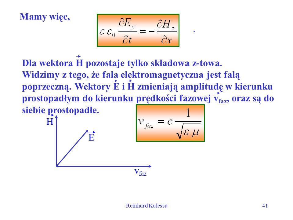 Reinhard Kulessa41 Mamy więc,. Dla wektora H pozostaje tylko składowa z-towa. Widzimy z tego, że fala elektromagnetyczna jest falą poprzeczną. Wektory