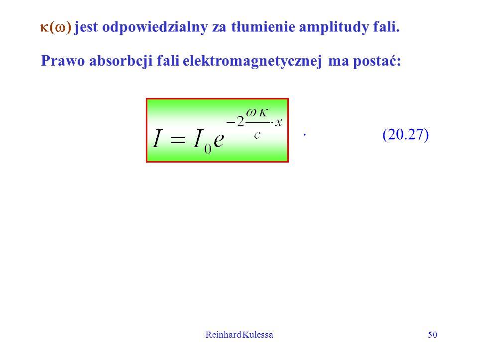 Reinhard Kulessa50 ( ) jest odpowiedzialny za tłumienie amplitudy fali. Prawo absorbcji fali elektromagnetycznej ma postać:. (20.27)
