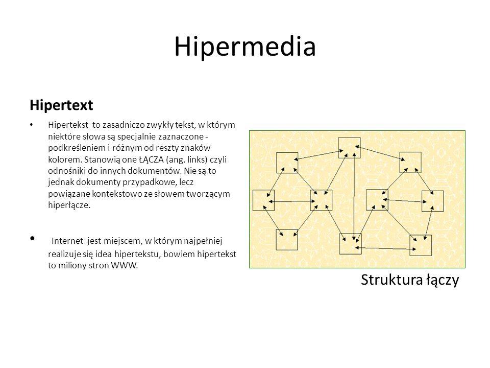 Hipermedia Hipertext Hipertekst to zasadniczo zwykły tekst, w którym niektóre słowa są specjalnie zaznaczone - podkreśleniem i różnym od reszty znaków