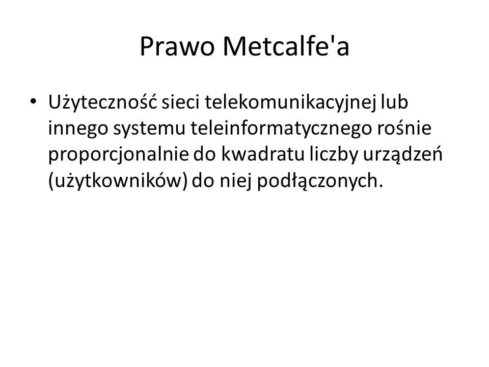 Prawo Metcalfe'a Użyteczność sieci telekomunikacyjnej lub innego systemu teleinformatycznego rośnie proporcjonalnie do kwadratu liczby urządzeń (użytk