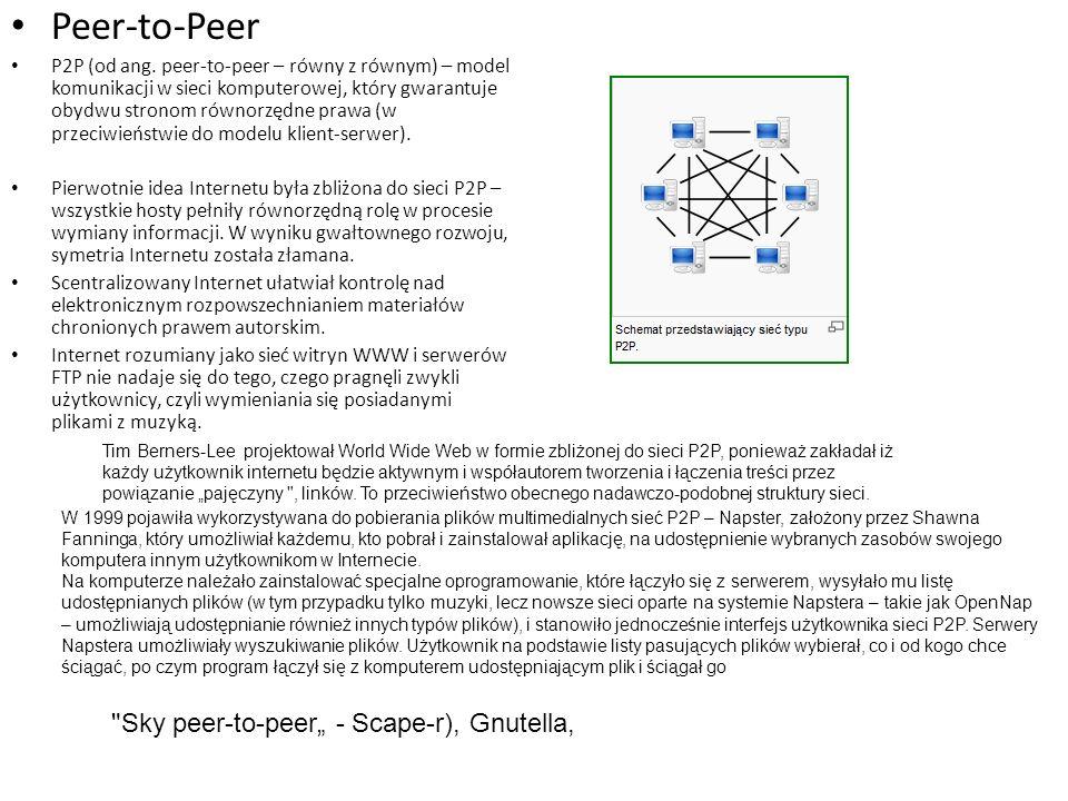 Peer-to-Peer P2P (od ang. peer-to-peer – równy z równym) – model komunikacji w sieci komputerowej, który gwarantuje obydwu stronom równorzędne prawa (