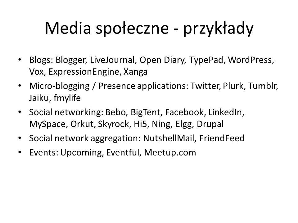 Media społeczne - przykłady Blogs: Blogger, LiveJournal, Open Diary, TypePad, WordPress, Vox, ExpressionEngine, Xanga Micro-blogging / Presence applic