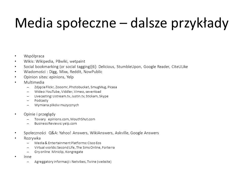 Media społeczne – dalsze przykłady Współpraca Wikis: Wikipedia, PBwiki, wetpaint Social bookmarking (or social tagging)[6]: Delicious, StumbleUpon, Go