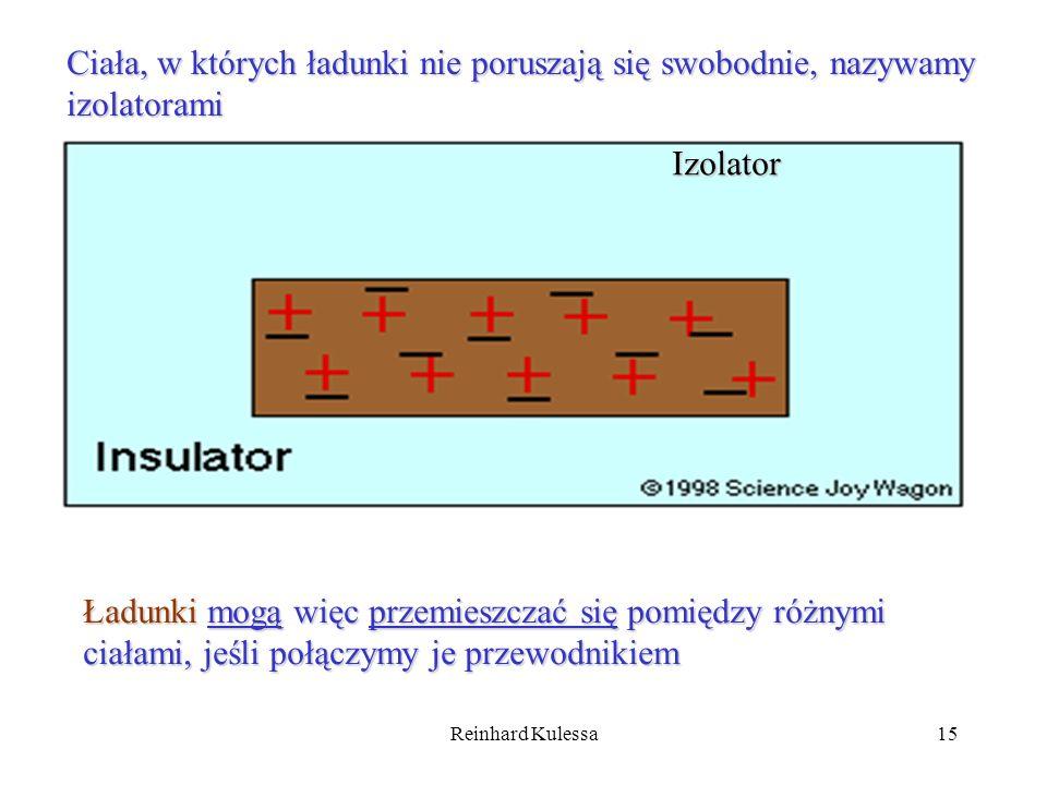 Reinhard Kulessa15 Ciała, w których ładunki nie poruszają się swobodnie, nazywamy izolatorami Izolator Ładunki mogą więc przemieszczać się pomiędzy ró