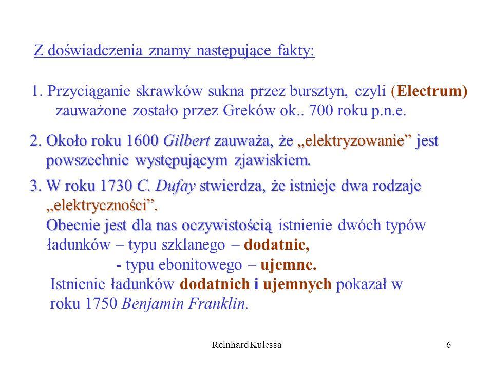 Reinhard Kulessa6 Z doświadczenia znamy następujące fakty: 1. Przyciąganie skrawków sukna przez bursztyn, czyli (Electrum) zauważone zostało przez Gre