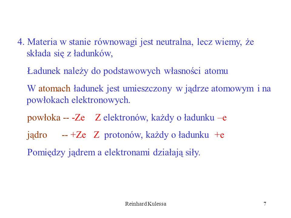 Reinhard Kulessa7 4. Materia w stanie równowagi jest neutralna, lecz wiemy, że składa się z ładunków, Ładunek należy do podstawowych własności atomu W