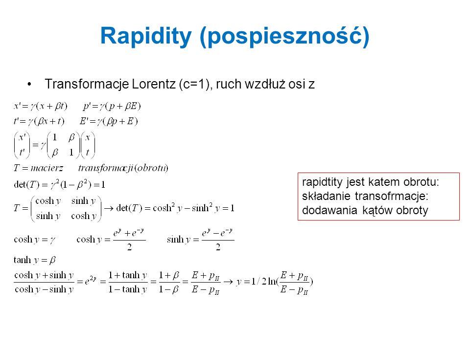 Pospieszność znormalizowana i pseudo-pośpiesznośc Aby porównać rozkłady z różnych energii wiązki uywamy pospieszności znormalizowanej y jest addytywne (y CM lab – posp.