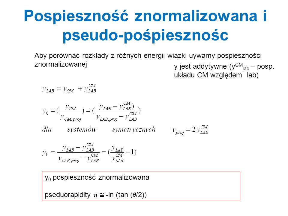Parametry pomiarów inkluzywnych i relacje kinematyczne z- kierunek wiązki y (rapidity) = 0.5 * ln [(E + p z ) / (E - p z )] = ½ ln [(1 + II )/1 - II )] tanh (y) = = p || /E transformacje pospieszności ; y * = y – atanh( ) prędkość względna systemów m t 2 (masa poprzeczna) = m 2 + p t 2 p t (pęd poprzeczny, p ) = p sin (Ө ) = (p x 2 + p y 2 ) 1/2 Relacje; E = m t cosh (y), p || = m t sinh (y) (Ө(Ө 3 stopnie swobody: y(rapidity), p t, m