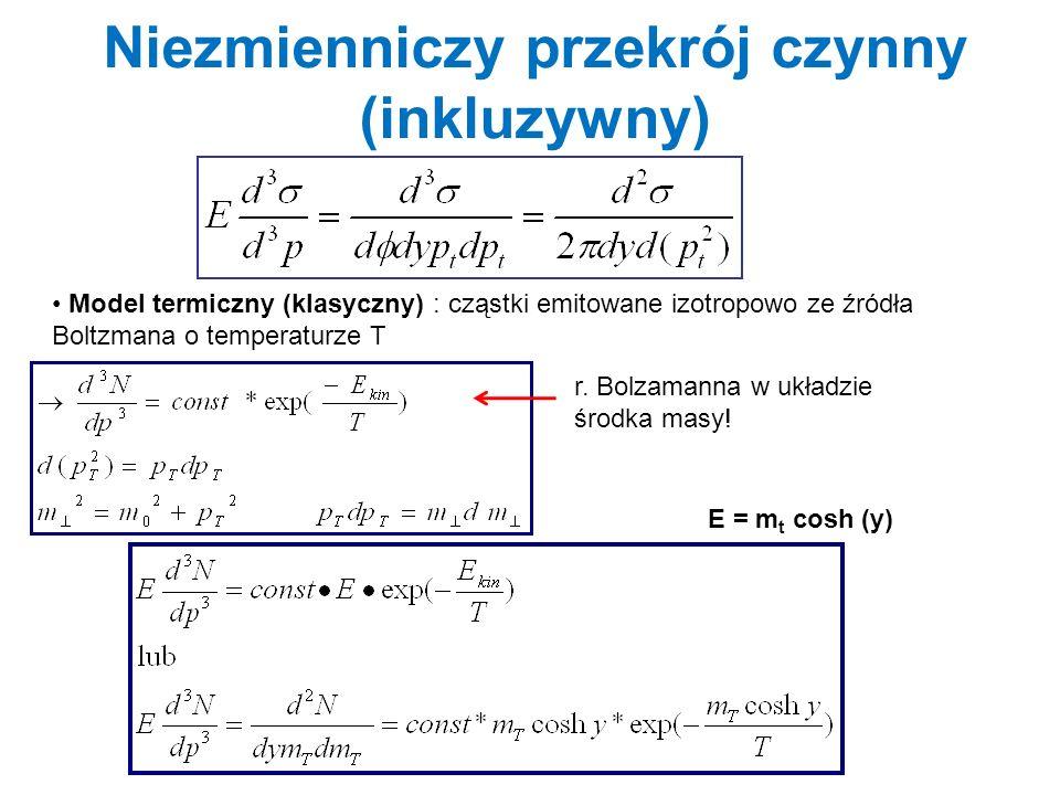 Rozkłady różniczkowe (p t, y, m t ) pojedyncze, statyczne, źródło izotropowe (rozkład Boltzmana) całkowanie po m t = (m 2 + p 2 ) 1/2 daje (rozkład niezmnienniczy) w funkcji y T-temperatura źródła w momencie emisji cząstek (Thermal freeze-out).