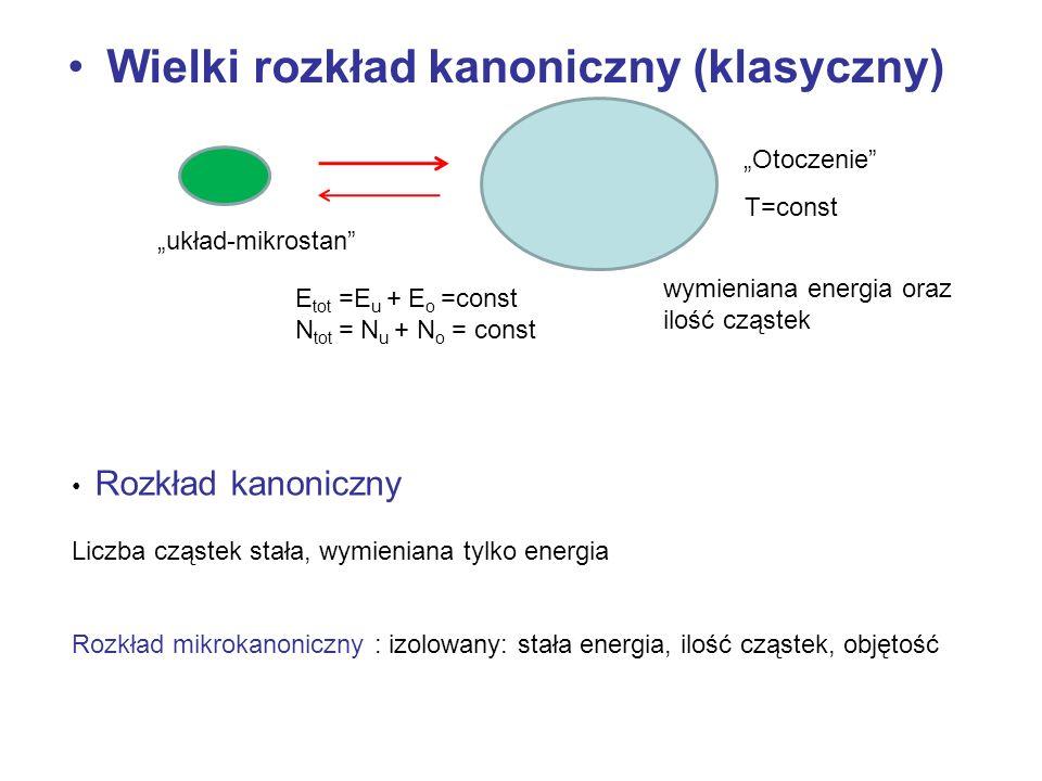 Wielki rozkład kanoniczny (klasyczny) Otoczenie układ-mikrostan E tot =E u + E o =const N tot = N u + N o = const T=const wymieniana energia oraz iloś