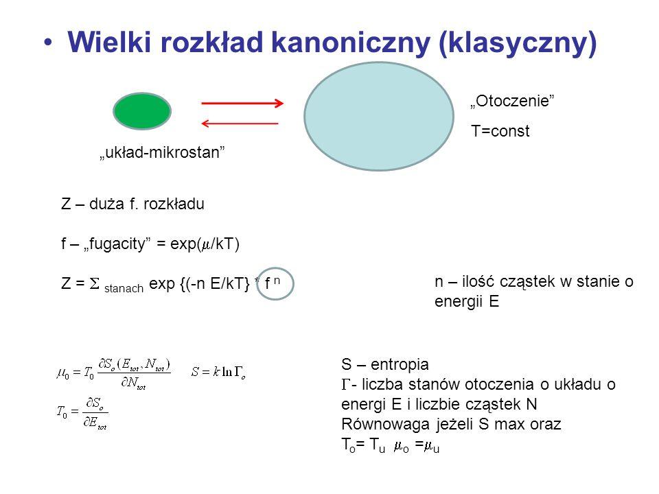 Wielki rozkład kanoniczny (klasyczny) Otoczenie układ-mikrostan Z – duża f. rozkładu f – fugacity = exp( /kT) Z = stanach exp {(-n E/kT} * f n S – ent