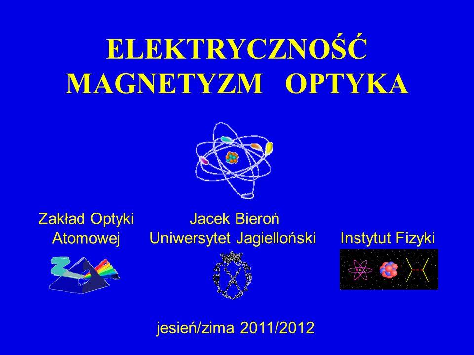 Uniwersytet JagiellońskiInstytut Fizyki Jacek BierońZakład Optyki Atomowej jesień/zima 2011/2012 ELEKTRYCZNOŚĆ MAGNETYZM OPTYKA