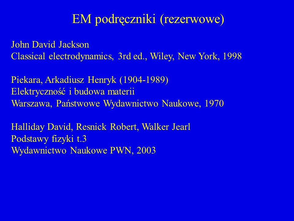 EM podręczniki (rezerwowe) John David Jackson Classical electrodynamics, 3rd ed., Wiley, New York, 1998 Piekara, Arkadiusz Henryk (1904-1989) Elektryc