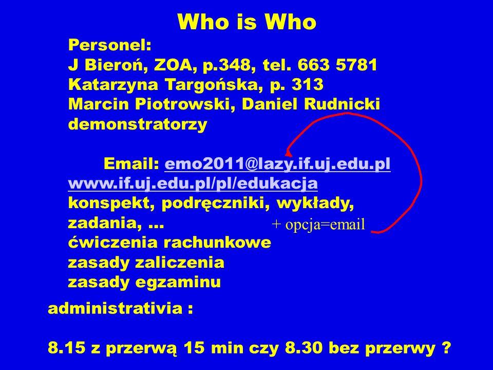 Who is Who Personel: J Bieroń, ZOA, p.348, tel. 663 5781 Katarzyna Targońska, p. 313 Marcin Piotrowski, Daniel Rudnicki demonstratorzy Email: emo2011@
