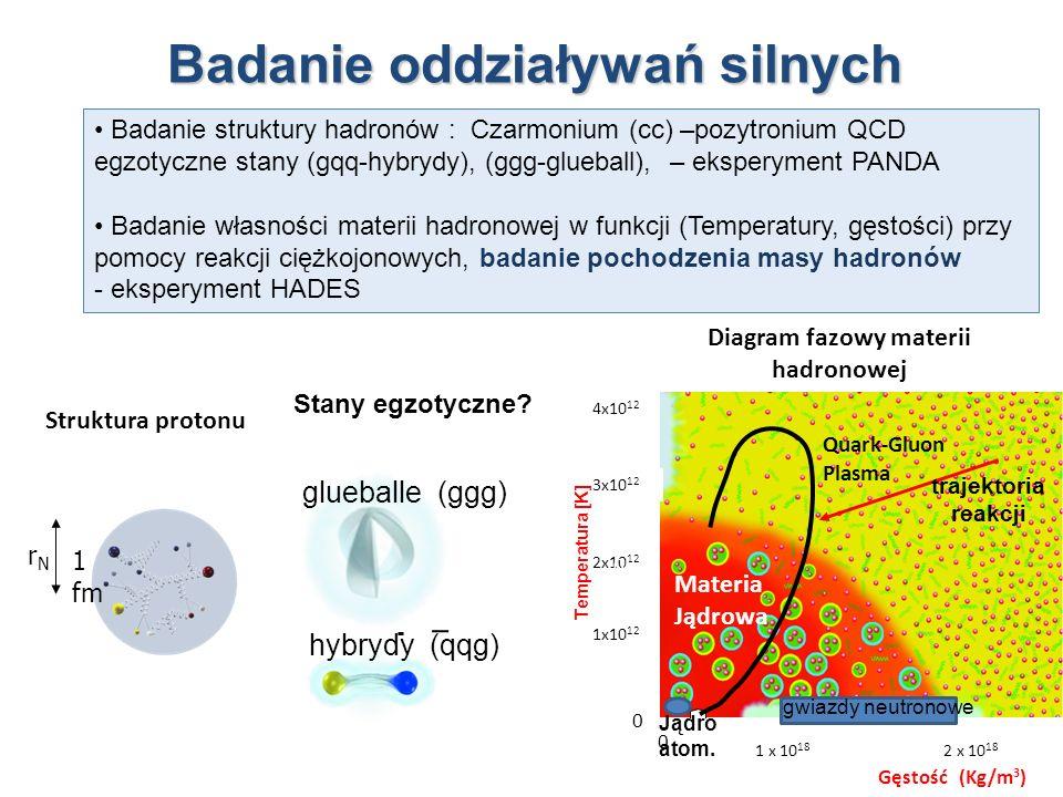 Badanie oddziaływań silnych 1 fm rNrN Struktura protonu Diagram fazowy materii hadronowej Quark-Gluon Plasma Materia Jądrowa Gęstość (Kg/m 3 ) 1x10 12