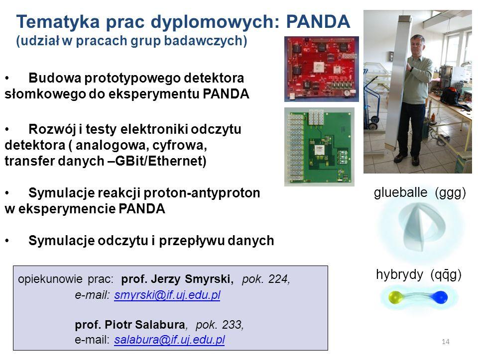 14 Budowa prototypowego detektora słomkowego do eksperymentu PANDA Rozwój i testy elektroniki odczytu detektora ( analogowa, cyfrowa, transfer danych