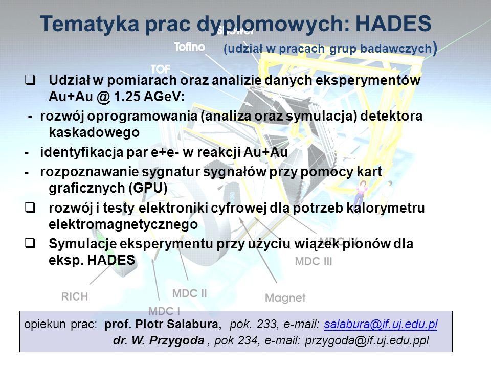 Udział w pomiarach oraz analizie danych eksperymentów Au+Au @ 1.25 AGeV: - rozwój oprogramowania (analiza oraz symulacja) detektora kaskadowego - iden