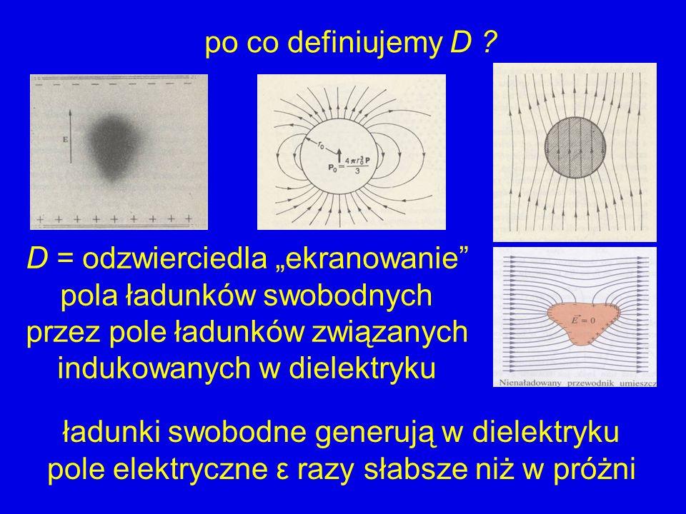 po co definiujemy D ? D = odzwierciedla ekranowanie pola ładunków swobodnych przez pole ładunków związanych indukowanych w dielektryku ładunki swobodn
