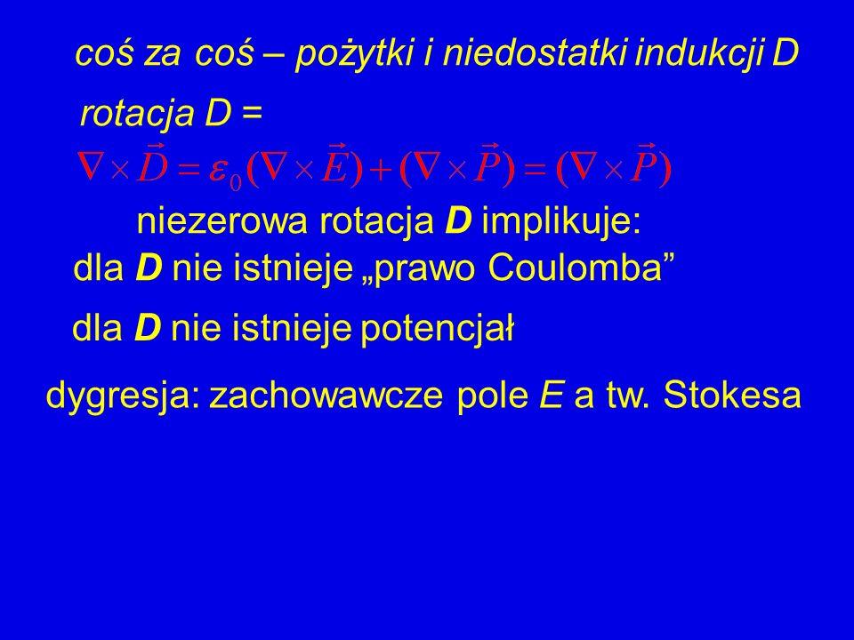 coś za coś – pożytki i niedostatki indukcji D rotacja D = niezerowa rotacja D implikuje: dla D nie istnieje prawo Coulomba dla D nie istnieje potencja