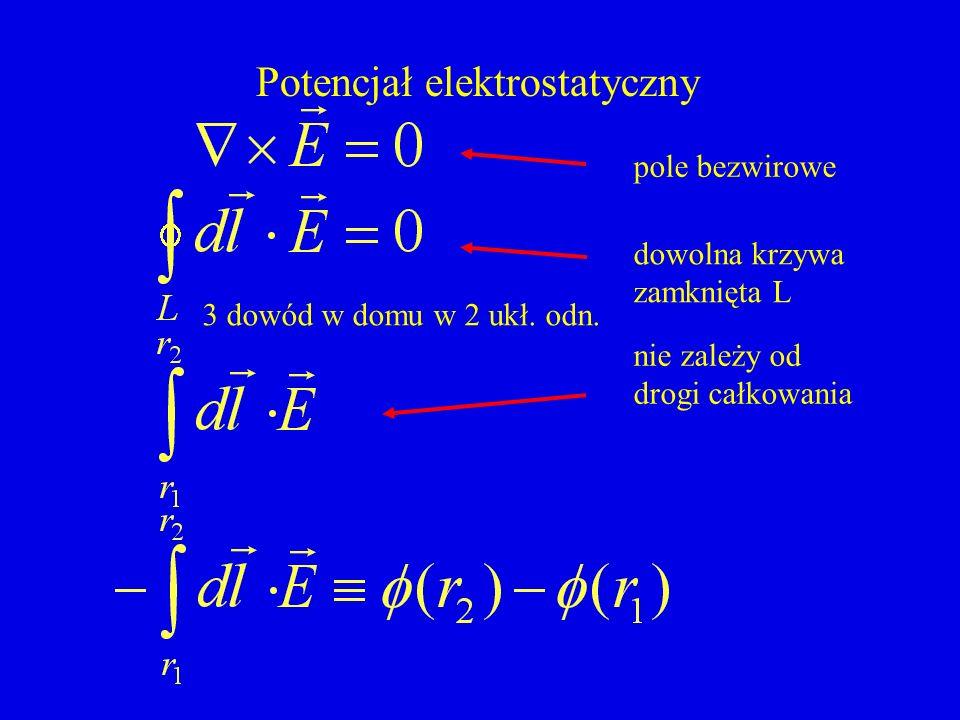 Potencjał elektrostatyczny pole bezwirowe dowolna krzywa zamknięta L nie zależy od drogi całkowania 3 dowód w domu w 2 ukł. odn.