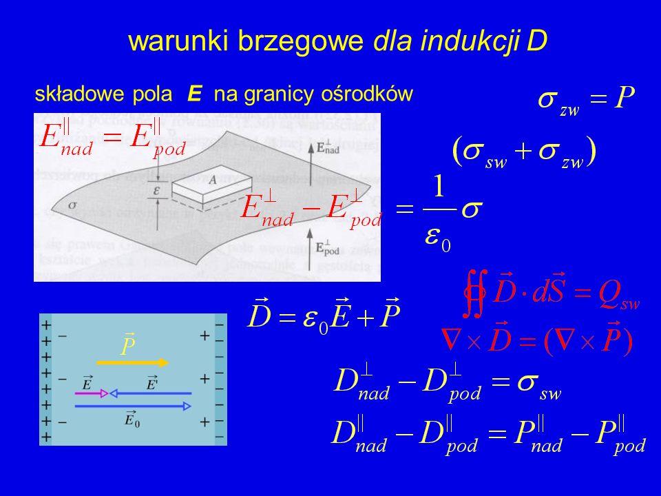 warunki brzegowe dla indukcji D składowe pola E na granicy ośrodków