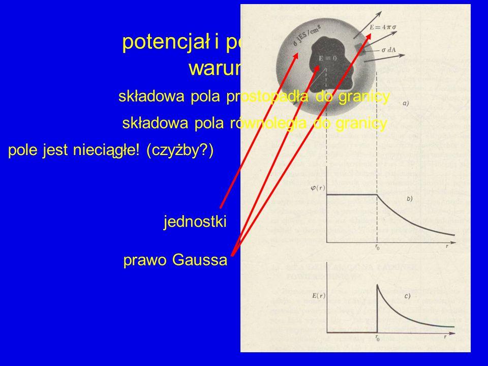 potencjał i pole elektrostatyczne warunki brzegowe pole jest nieciągłe! (czyżby?) - nieciągła - ciągła jednostki prawo Gaussa składowa pola prostopadł