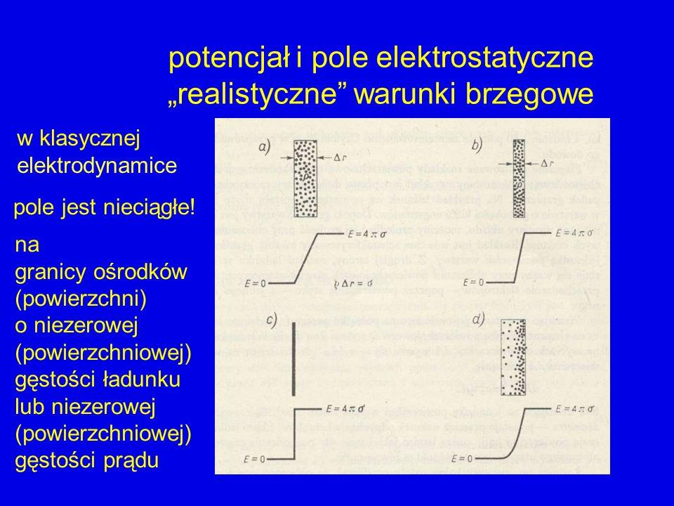 potencjał i pole elektrostatyczne realistyczne warunki brzegowe pole jest nieciągłe! w klasycznej elektrodynamice na granicy ośrodków (powierzchni) o