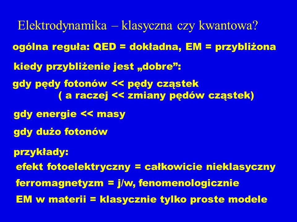 Elektrodynamika – klasyczna czy kwantowa? ogólna reguła: QED = dokładna, EM = przybliżona kiedy przybliżenie jest dobre: gdy pędy fotonów << pędy cząs